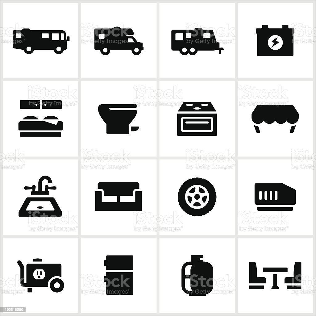 Black RV Systems Icons royalty-free stock vector art
