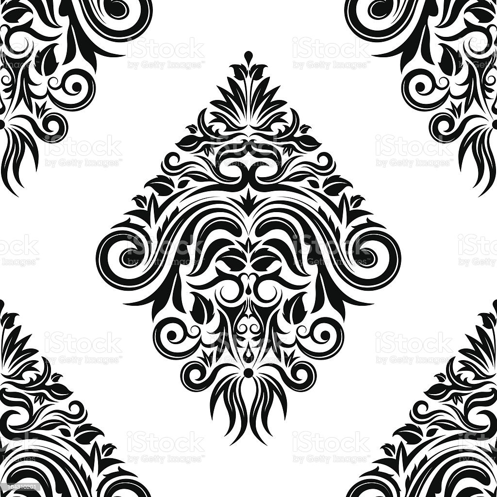 Black seamless floral pattern royalty-free stock vector art