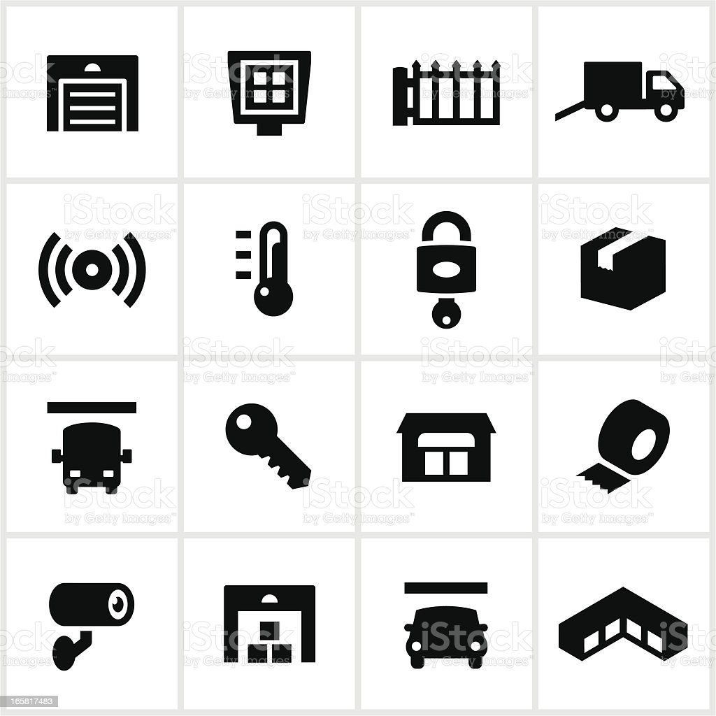 Black Self Storage Icons vector art illustration