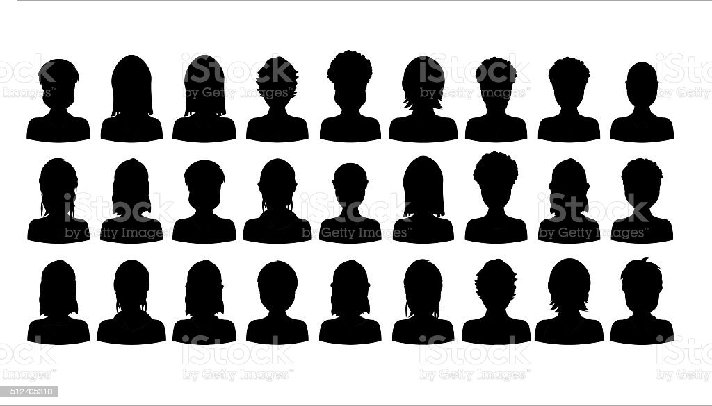 Black silhouette of people portraits on white background, cartoon style vector art illustration