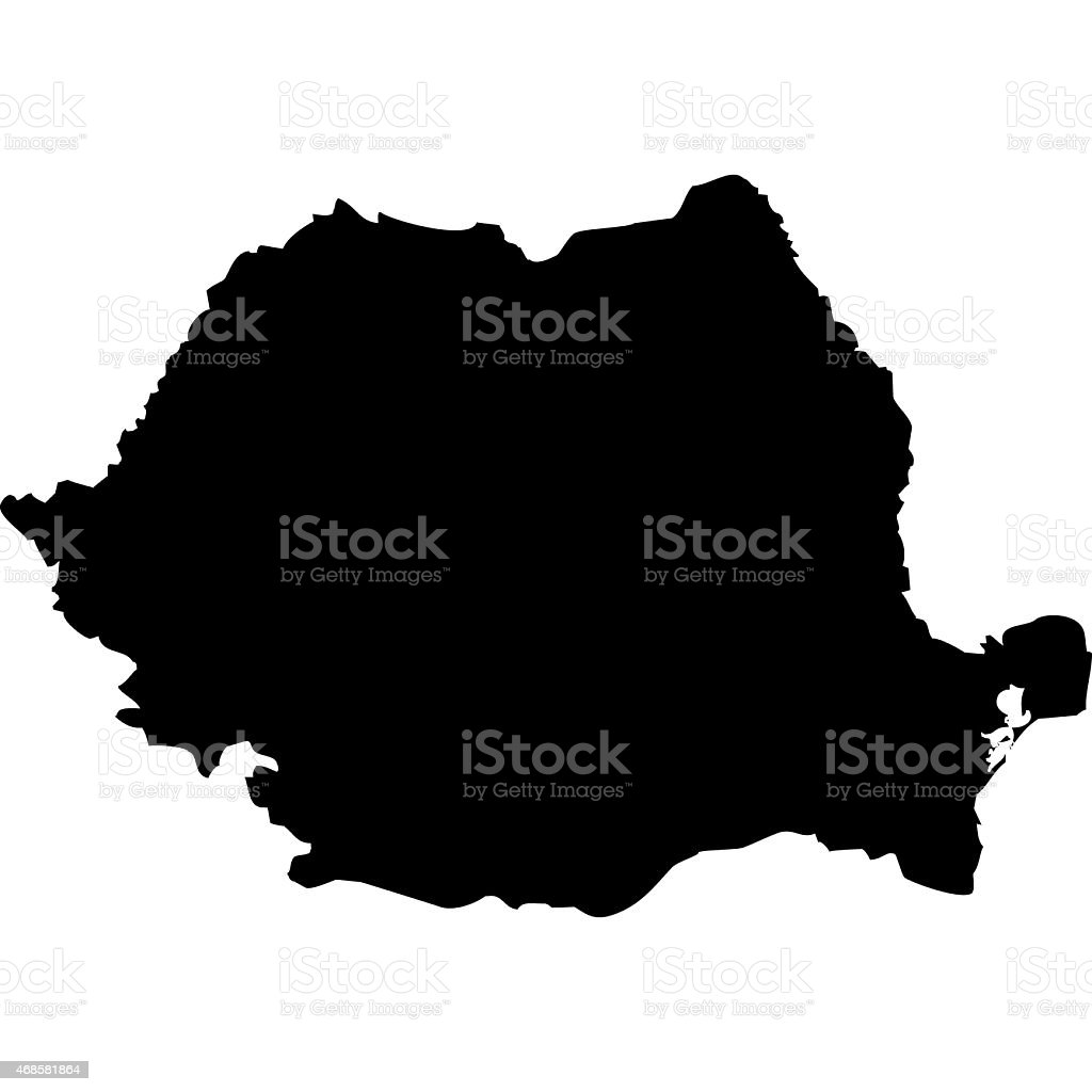 Black silhouette of the country of Romania vector art illustration