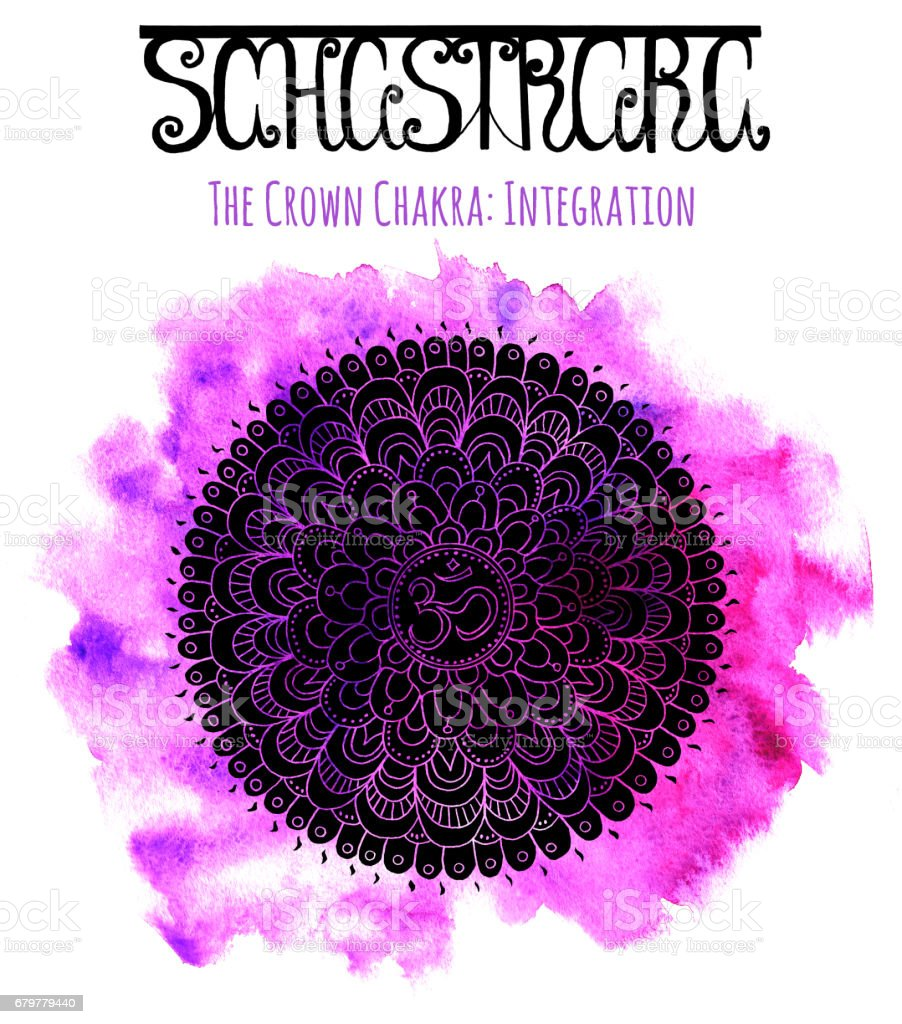 Black silhouette of the crown chakra on lilac background vector art illustration