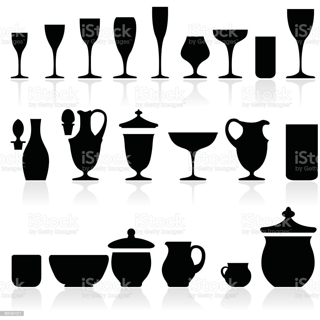 Black Silhouettes of Glasses & Cups & Drink Recipients vector art illustration