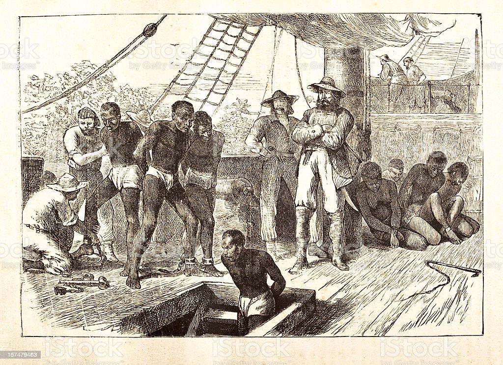 Black slaves loaded on ship 1881 vector art illustration