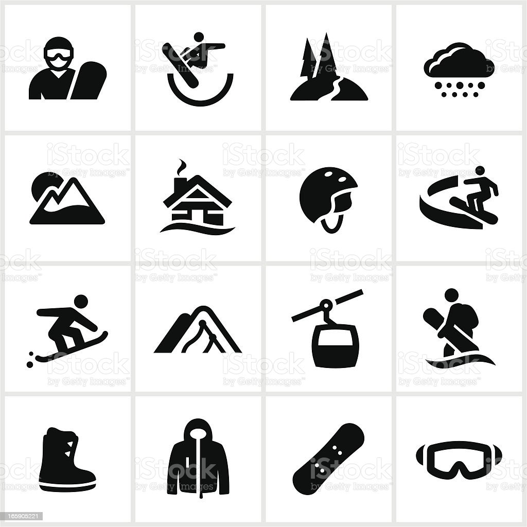 Black Snowboarding Icons vector art illustration