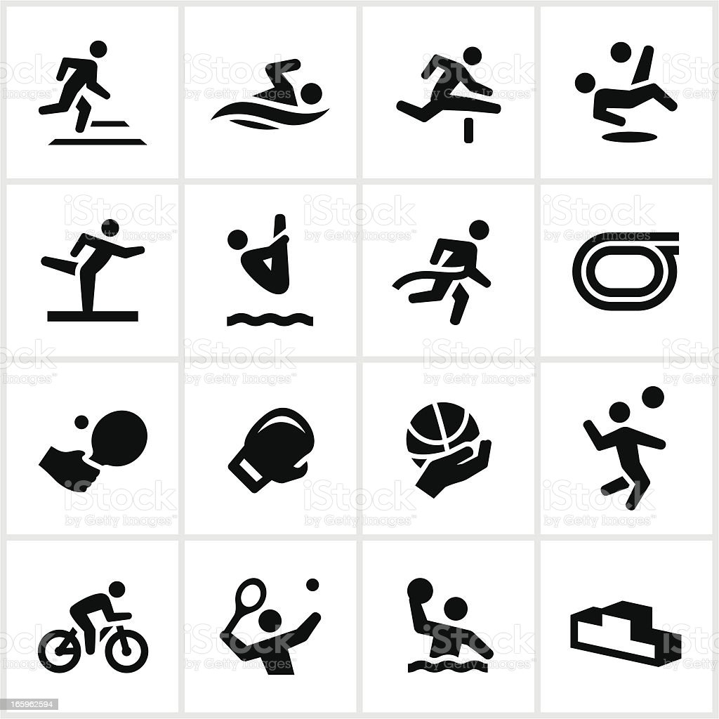 Black Sports Figures Icons vector art illustration