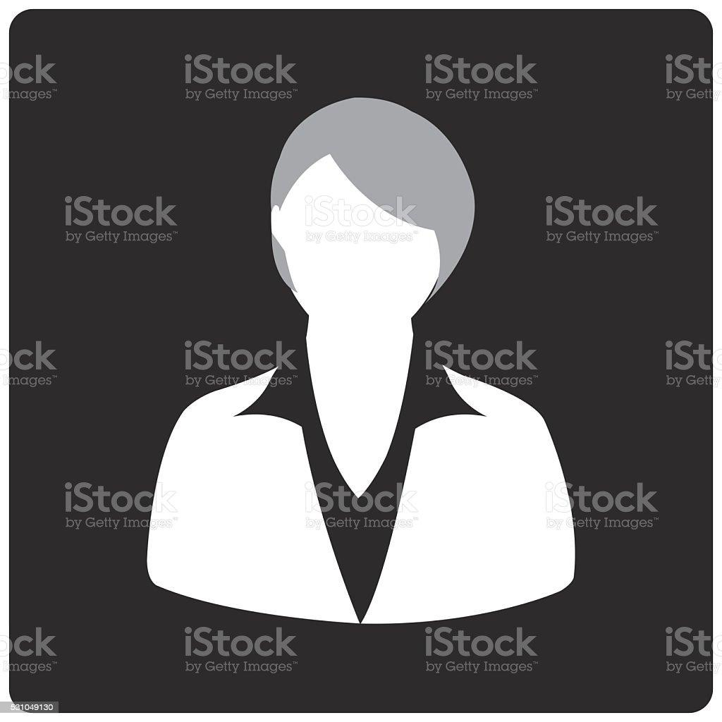 Black Square Button with Female vector art illustration