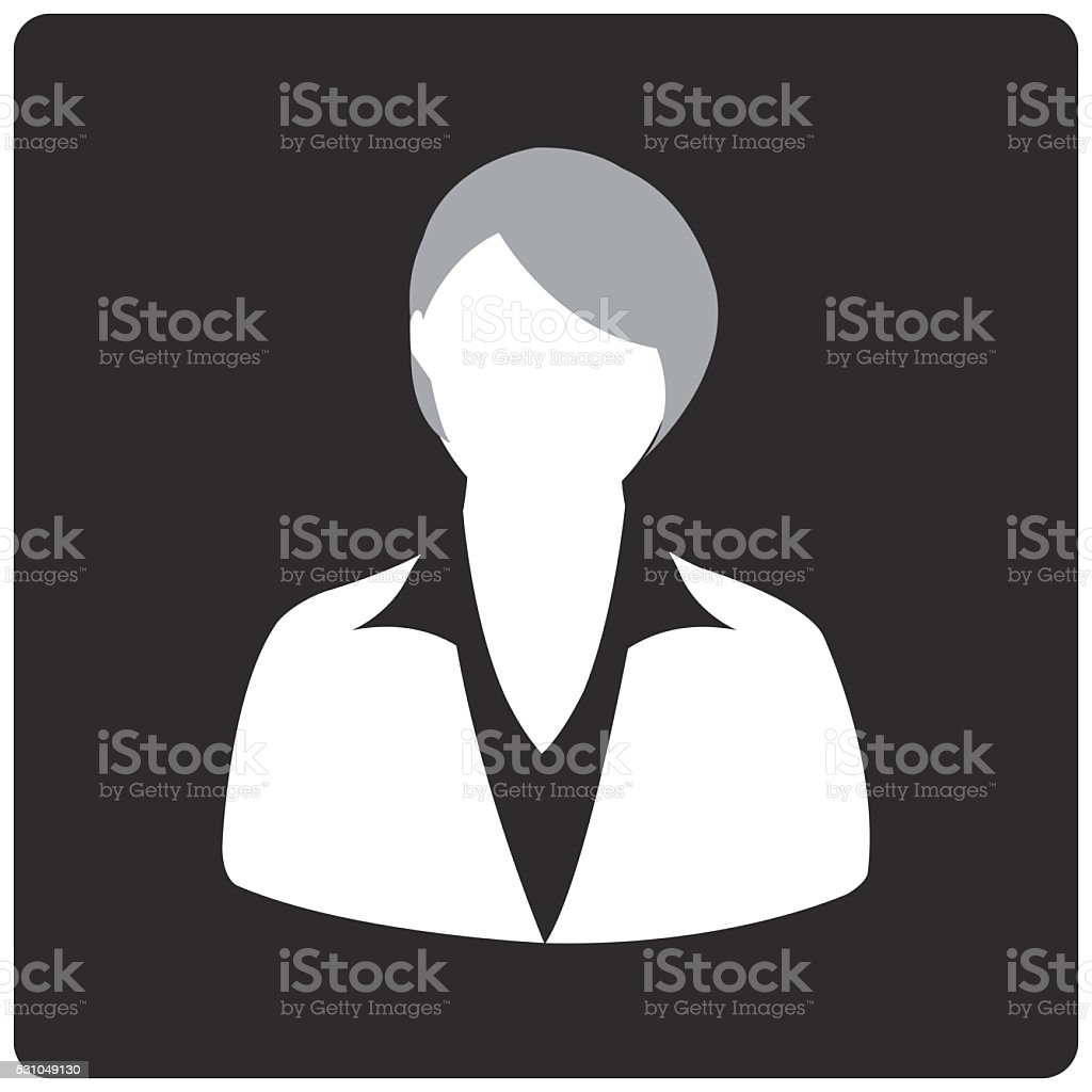 Black Square Button with Female vector art illustration
