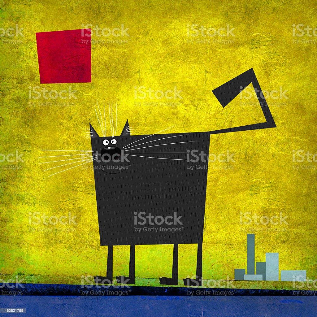 Black Square Cat in the City vector art illustration