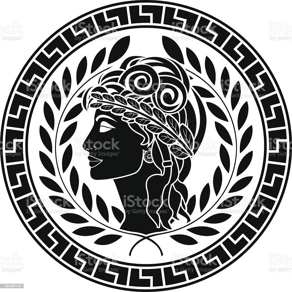 black stencil of patrician women vector art illustration
