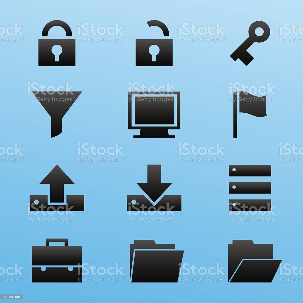 Black Style Icon Set Computer Security vector art illustration