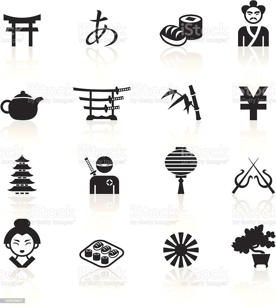 Black Symbols - Japan royalty-free stock vector art