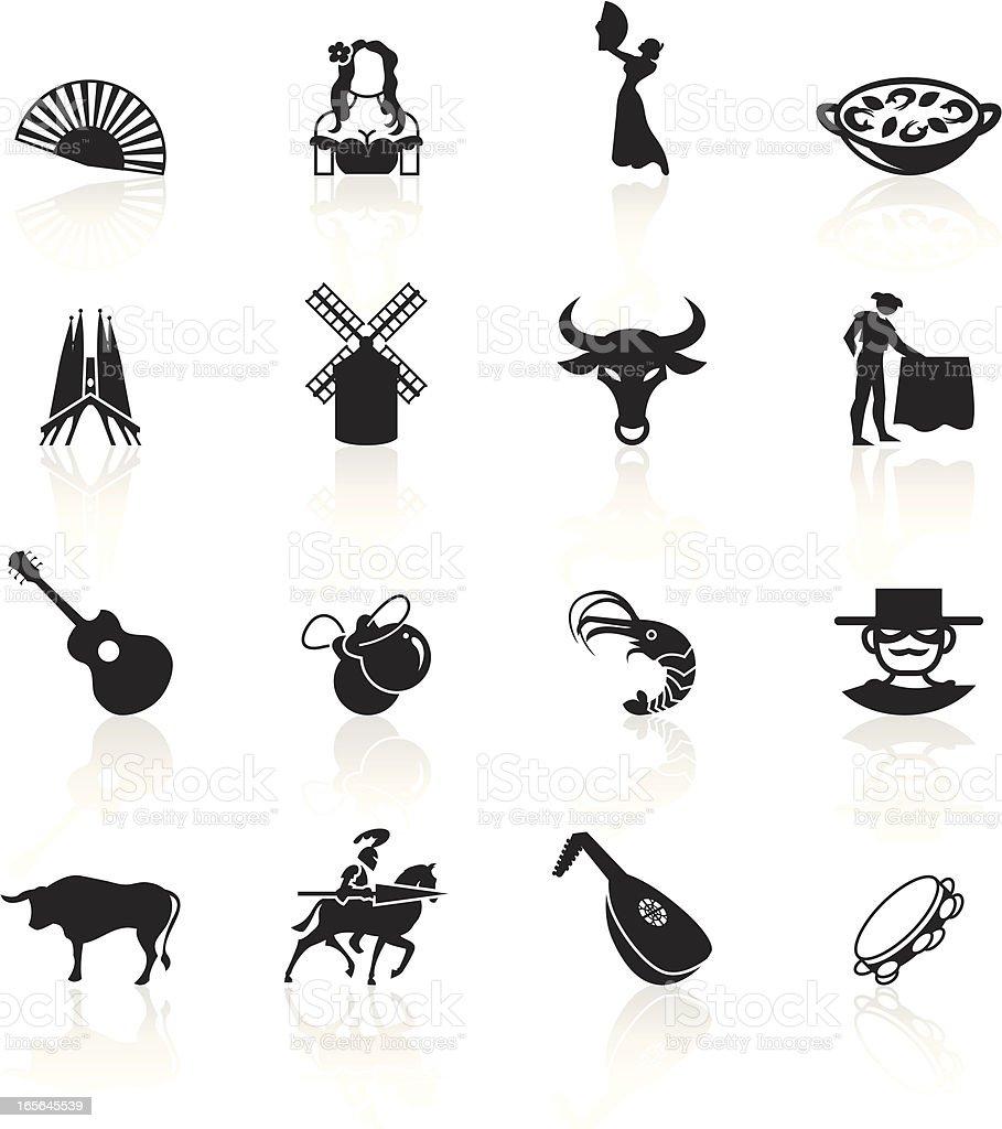 Black Symbols - Spain vector art illustration