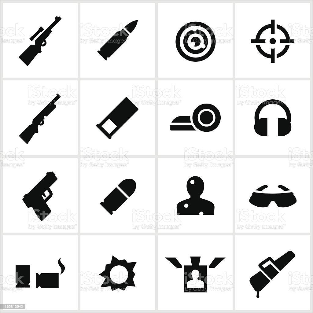 Black Target Shooting Icons vector art illustration