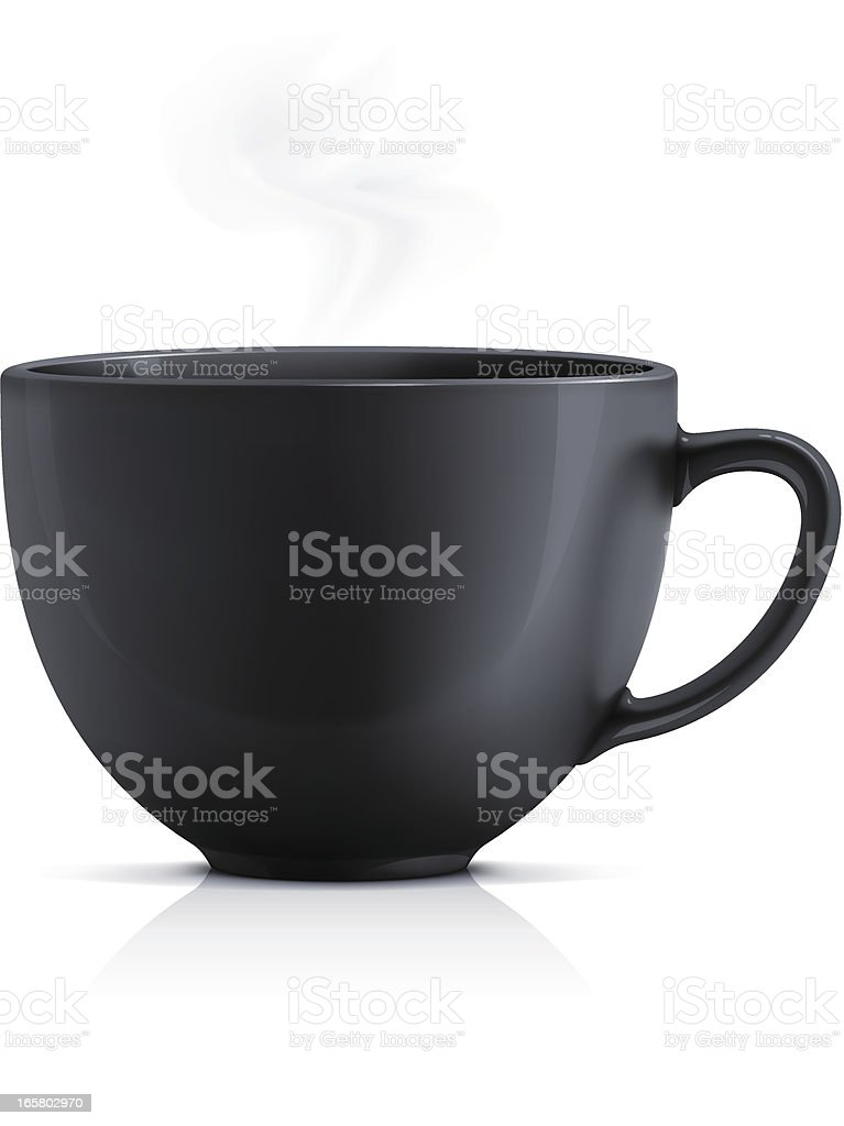 Black teacup vector art illustration