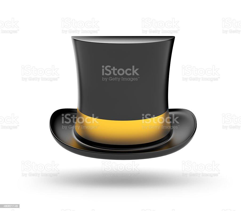 Black Top hat with gold stripe vector art illustration