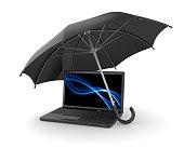 Black umbrella over laptop