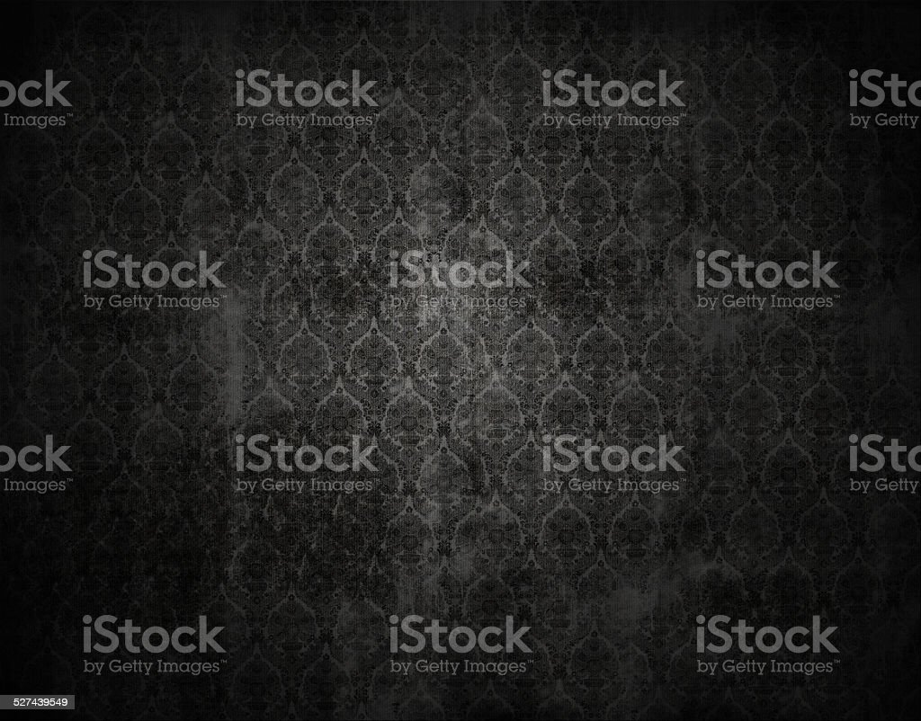 black vicorian wallpaper background, retro floral texture stock photo