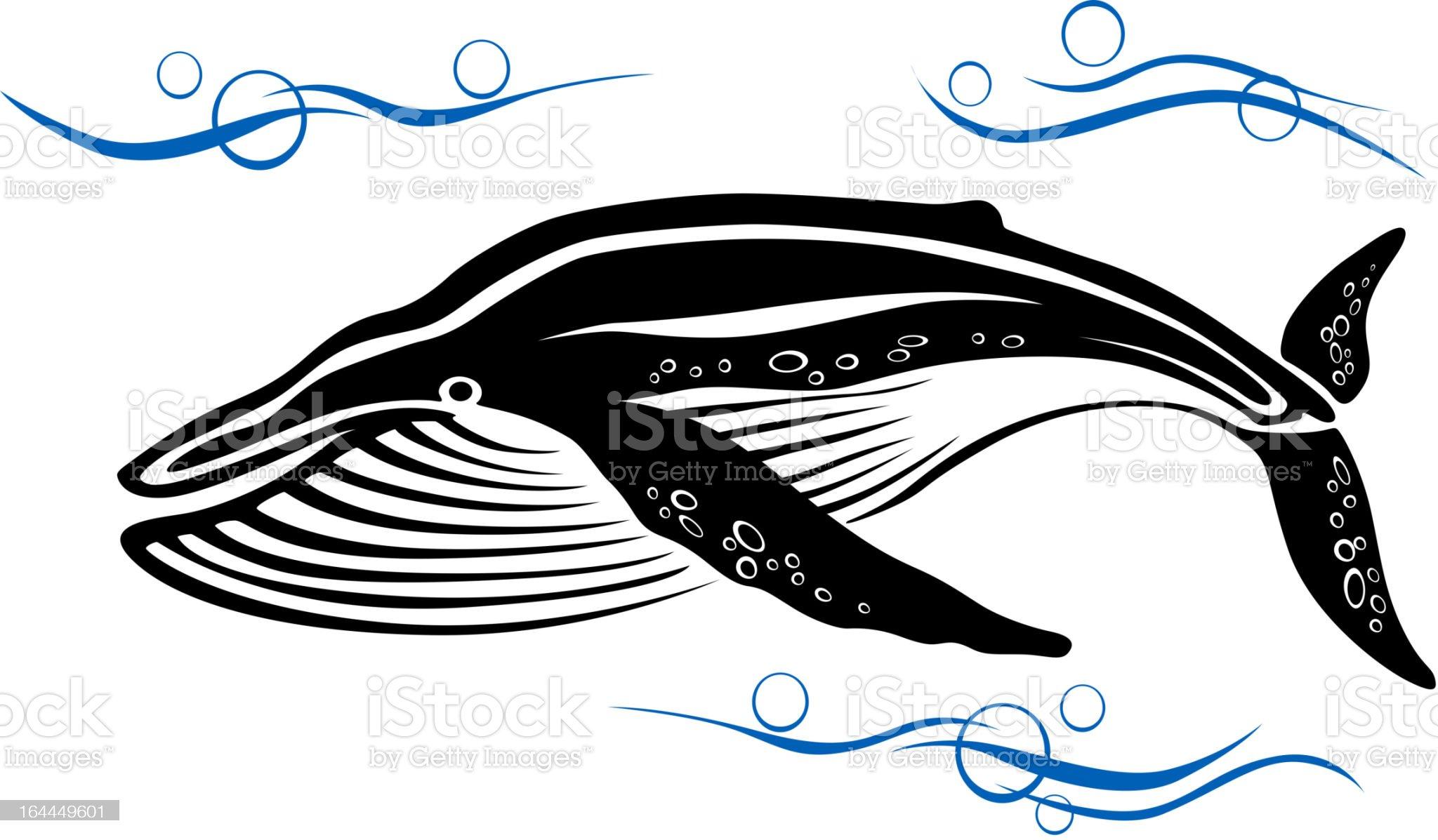 Black whale in ocean water royalty-free stock vector art