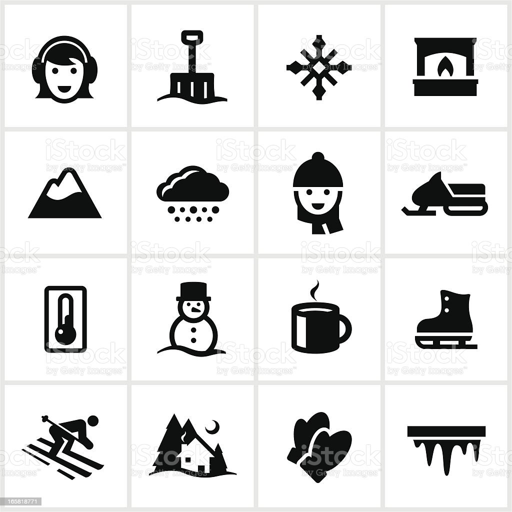 Black Winter Icons vector art illustration