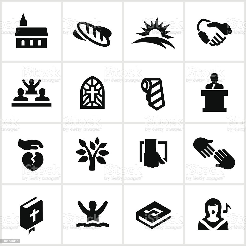 Black Worship Icons vector art illustration