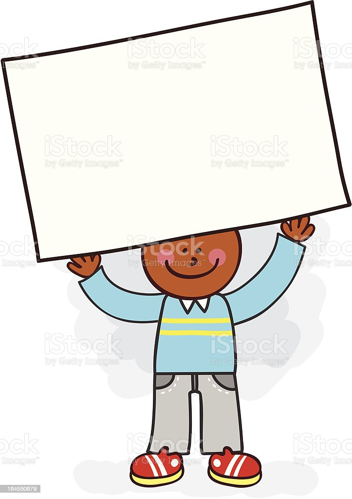 black young man holding banner message cartoon illustration royalty-free stock vector art