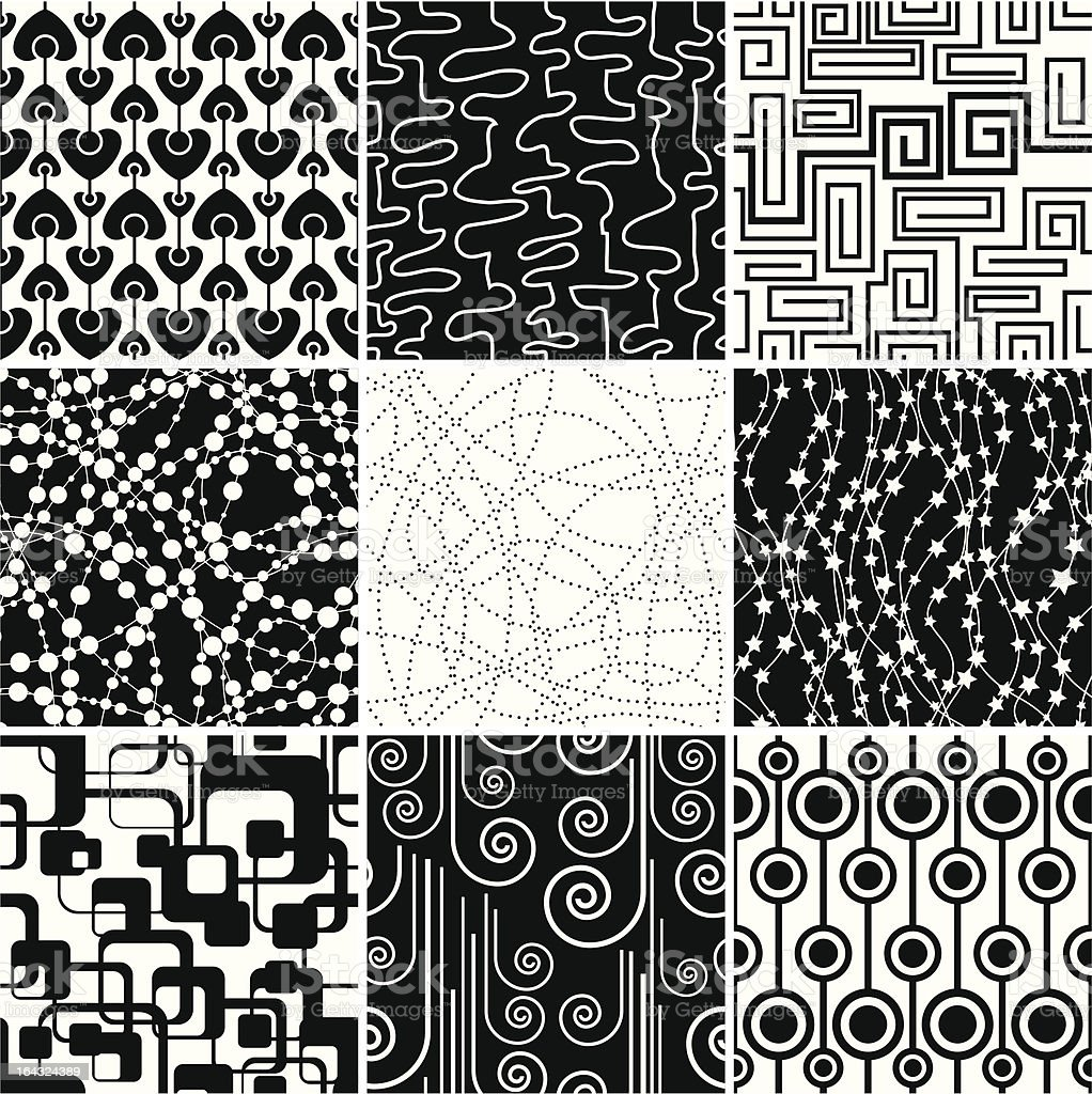 Black-and-white seamless collection royalty-free stock vector art