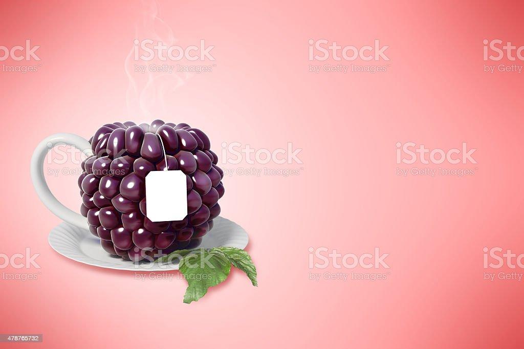 Blackberry tasse à thé stock vecteur libres de droits libre de droits