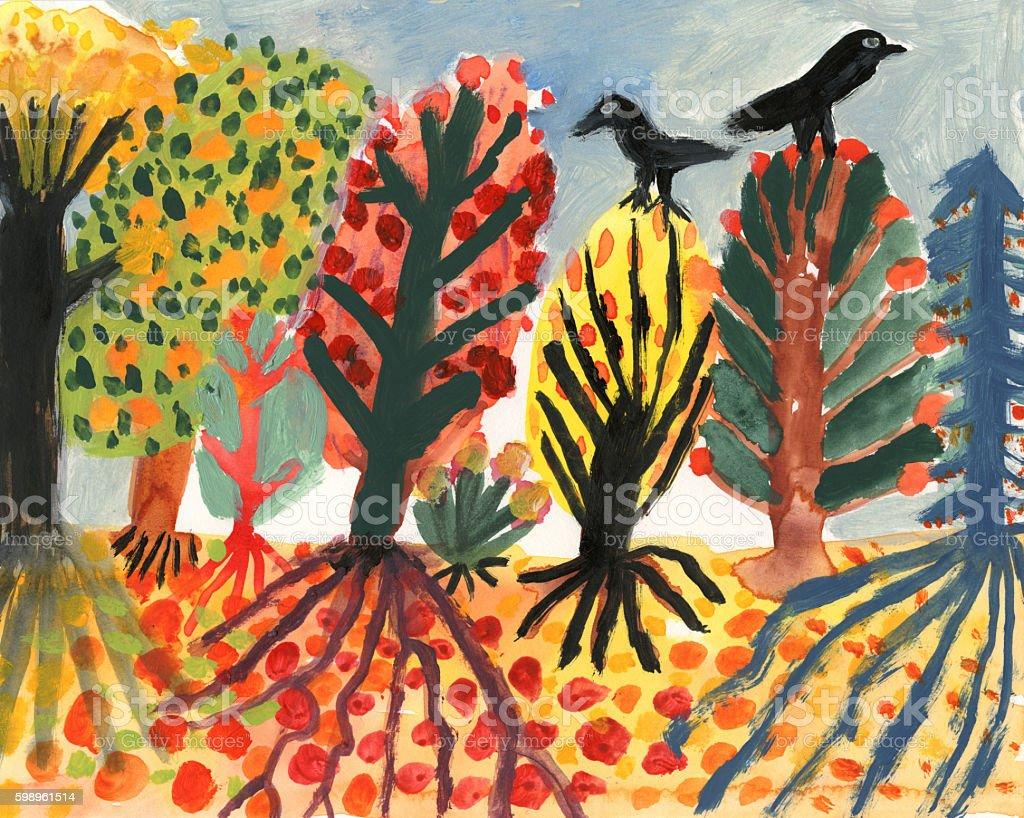 Blackbirds and autumn trees vector art illustration