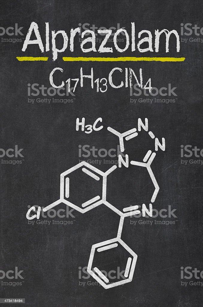 Blackboard with the chemical formula of Alprazolam vector art illustration