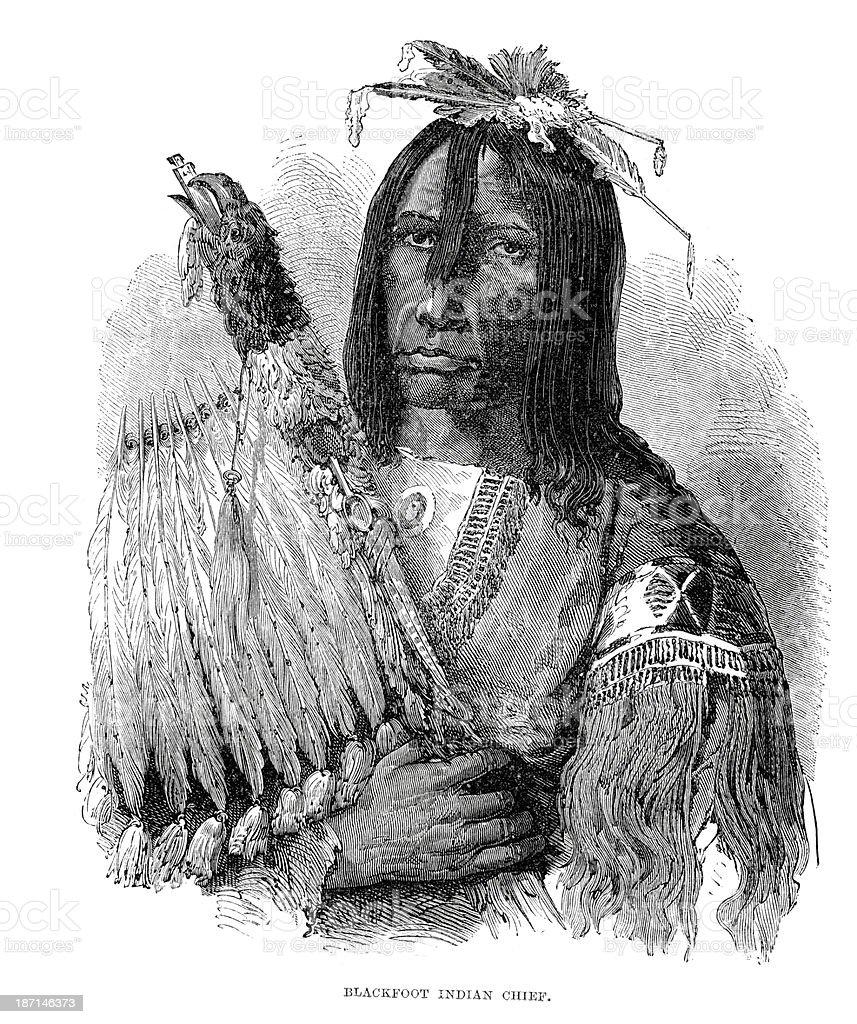 Blackfoot Native American Chief royalty-free stock vector art