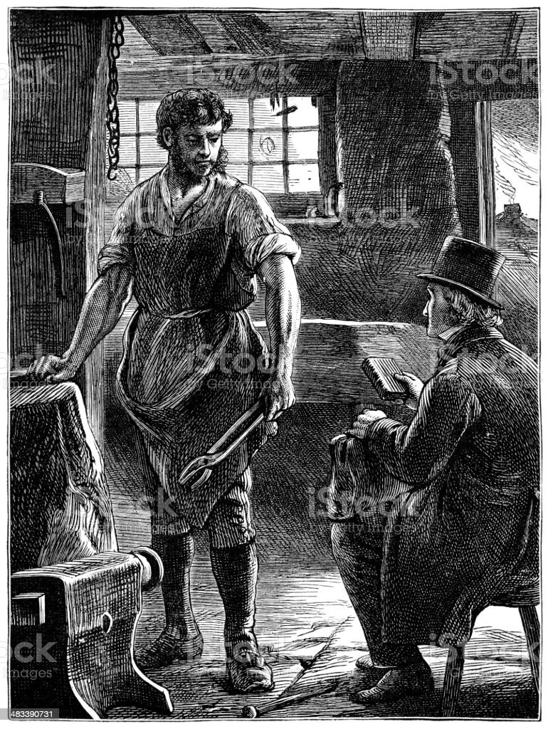 Blacksmith and gentleman (Victorian illustration) royalty-free stock vector art