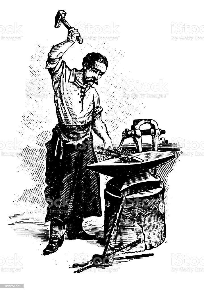 Blacksmith   Antique Design Illustrations royalty-free stock vector art