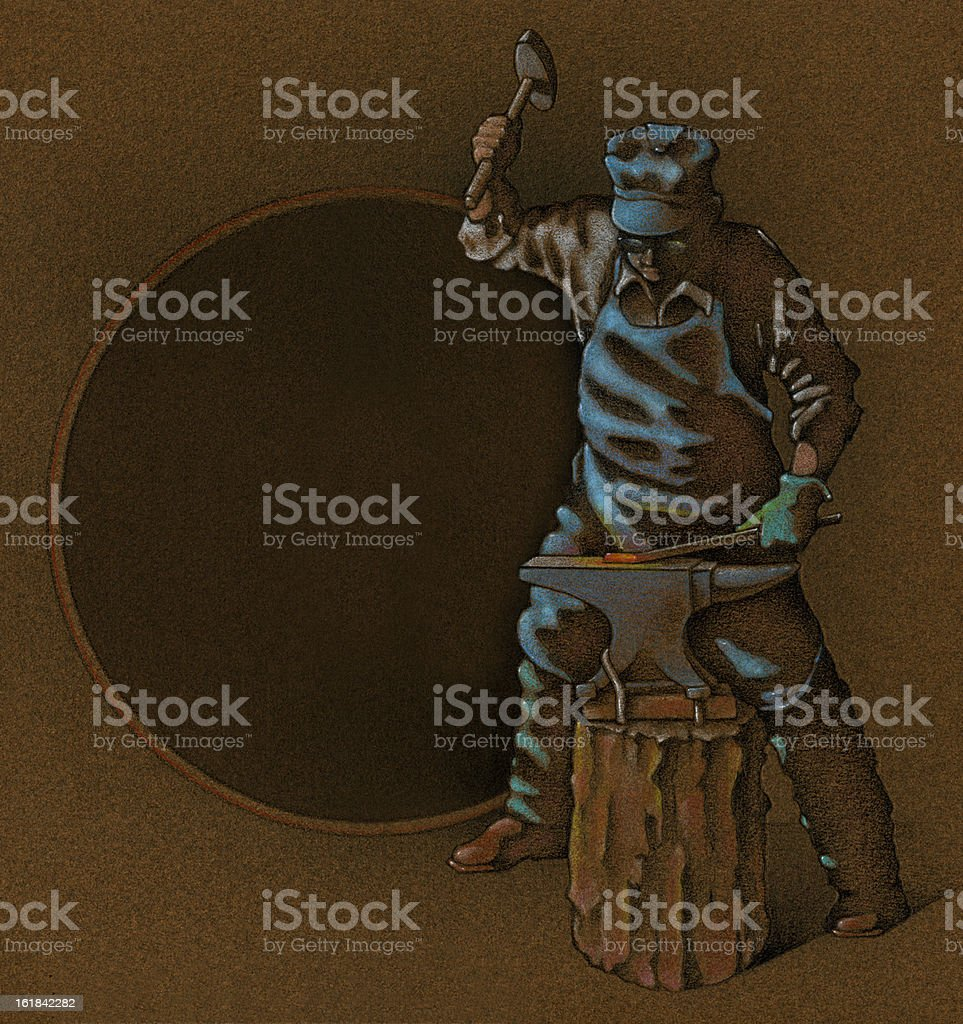 Blacksmith Ironworker Hammer and Anvil royalty-free stock vector art