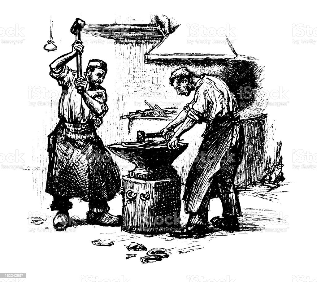 Blacksmith Workers Antique Design Illustrations Stock