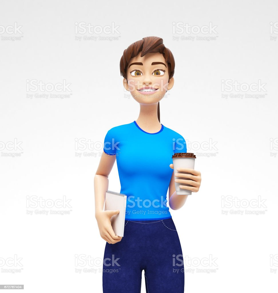 Blank Coffee or Tea Cup Mockup Held by Smiling and Happy Jenny - 3D Cartoon Female Character in Casual Clothes vector art illustration