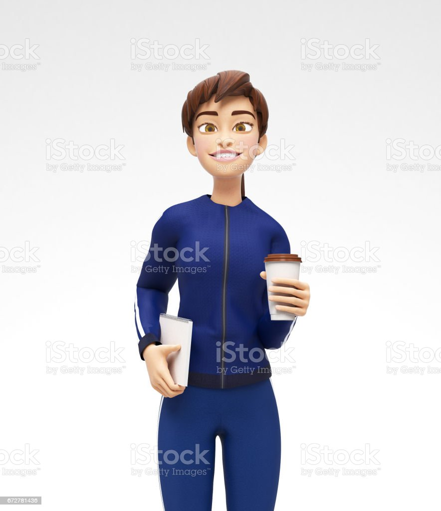 Blank Coffee or Tea Cup Mockup Held by Smiling and Happy Jenny - 3D Cartoon Female Character in Sports Suit vector art illustration