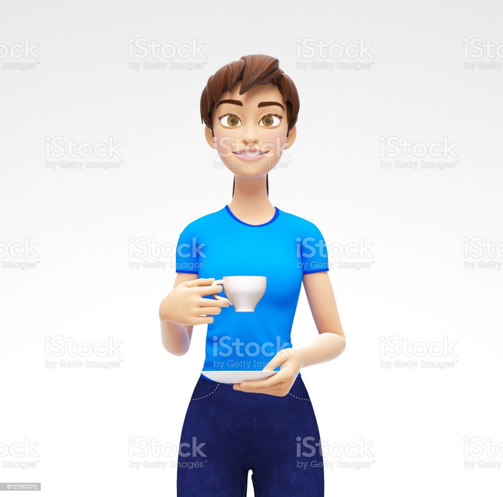 Blank Coffee or Tea Cup Mockup With saucer Held by Smiling and Happy Jenny - 3D Cartoon Female Character in Casual Clothes vector art illustration