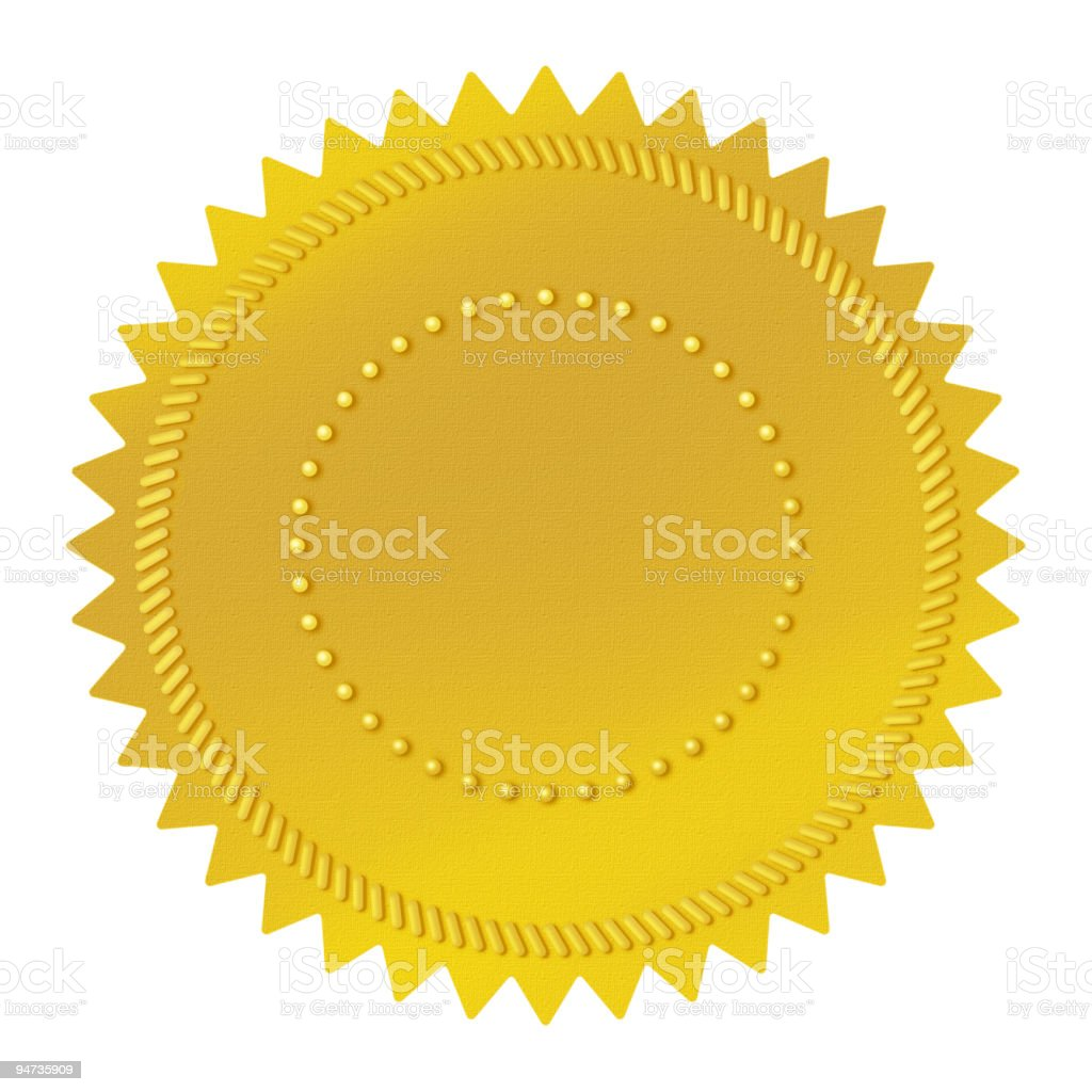 Blank golden seal isolated on white royalty-free stock vector art