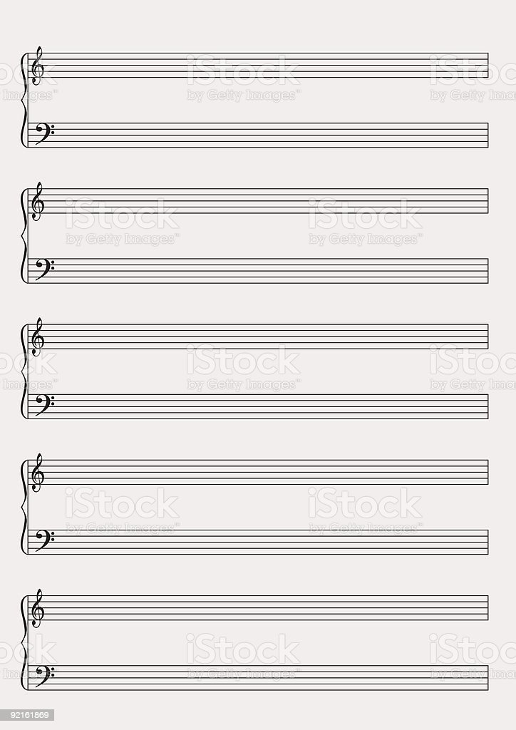 Blank music notes paper royalty-free stock vector art