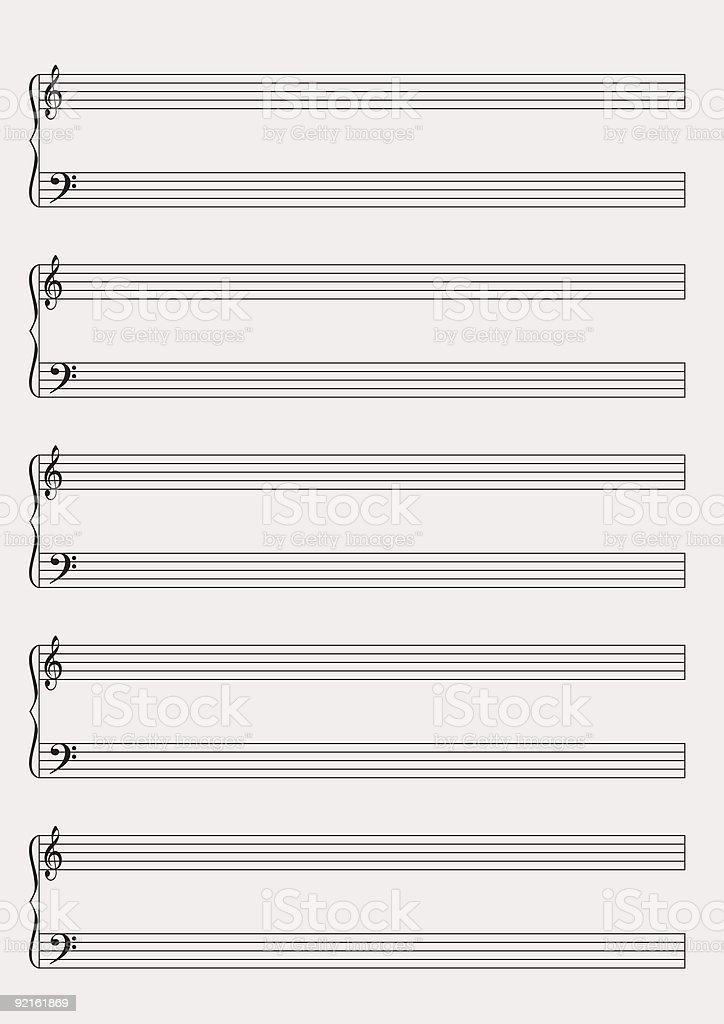Blank music notes paper vector art illustration