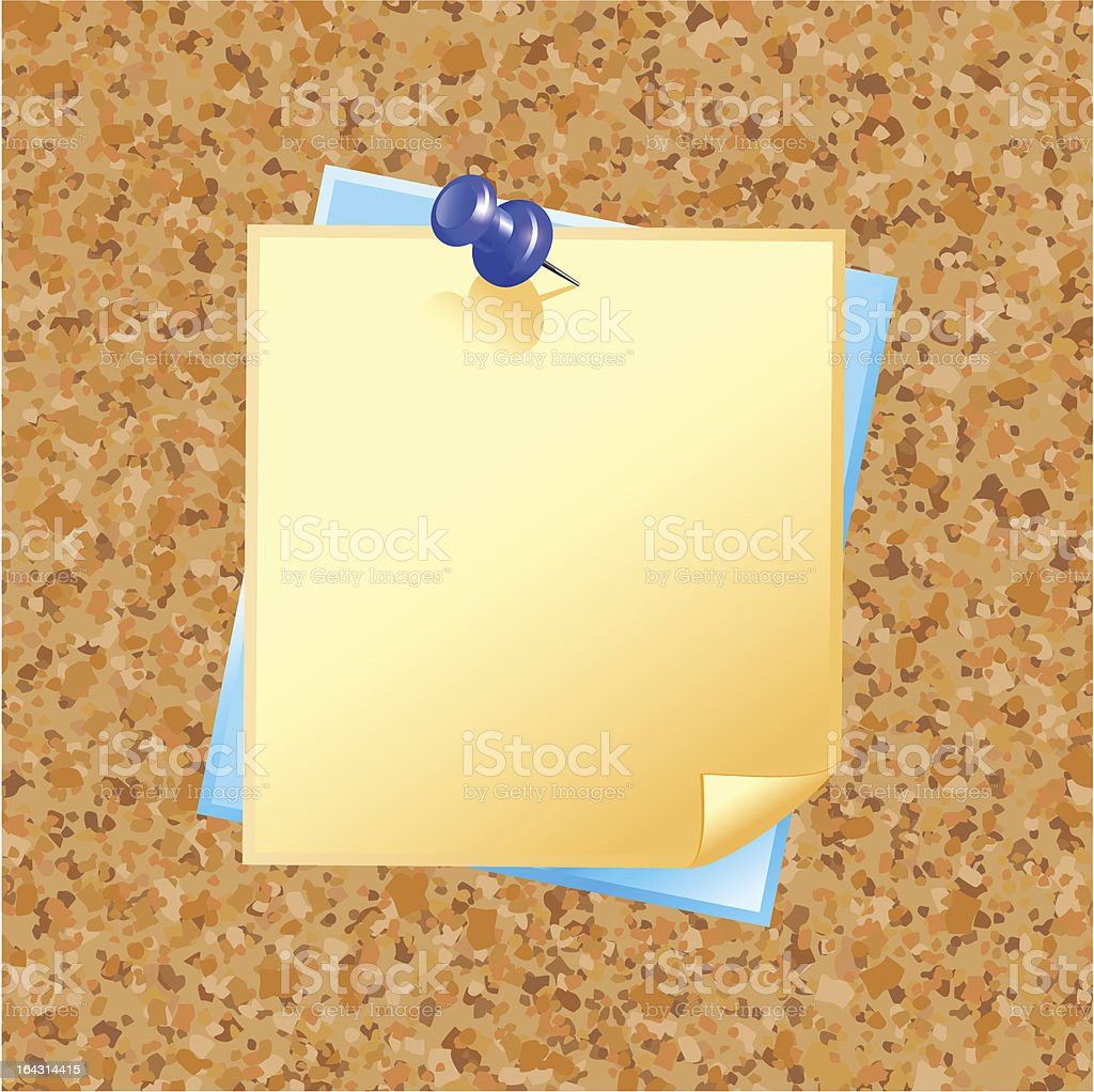 blank note paper with pin royalty-free stock vector art