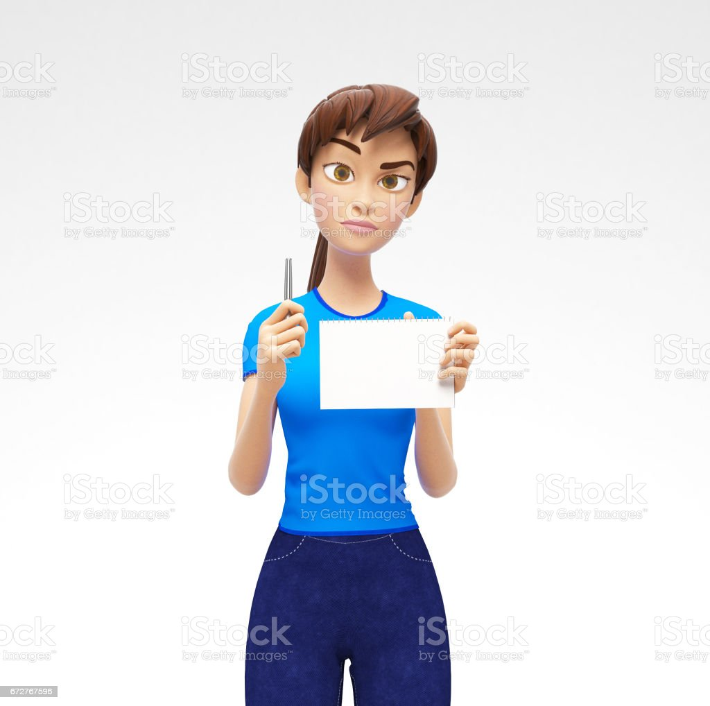 Blank Paper Notepad and Pencil Mockups Held by Serious, Pleasant Jenny - 3D Cartoon Female Character in Casual Clothes vector art illustration