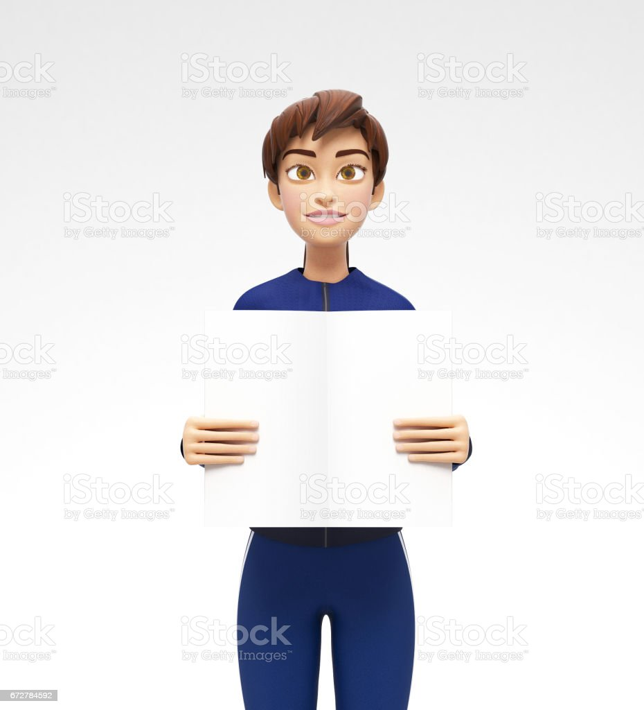Blank Product Poster and Banner Mockup Held by Smiling and Happy Jenny - 3D Cartoon Female Character in Sports Suit vector art illustration