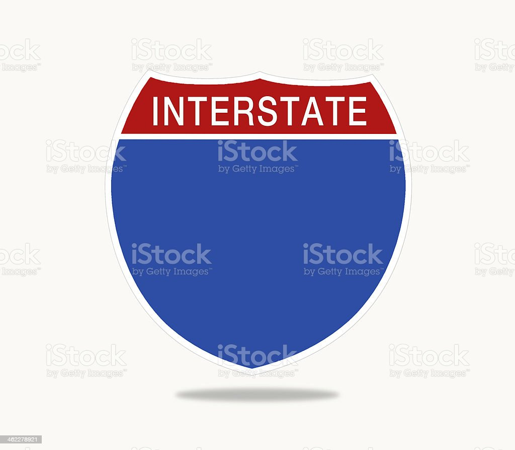 Blank red and blue Interstate highway sign vector art illustration