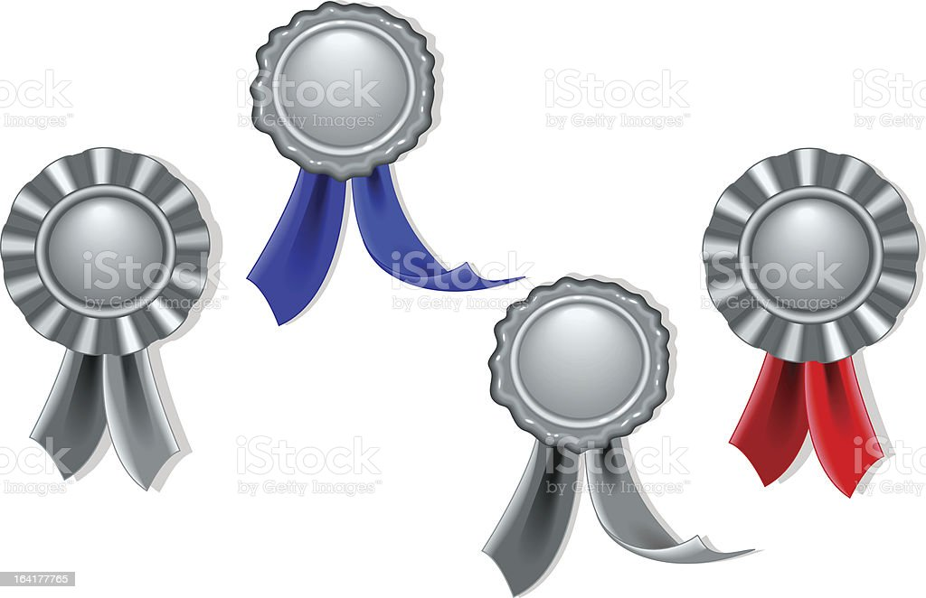 Blank seals and medals in silver royalty-free stock vector art