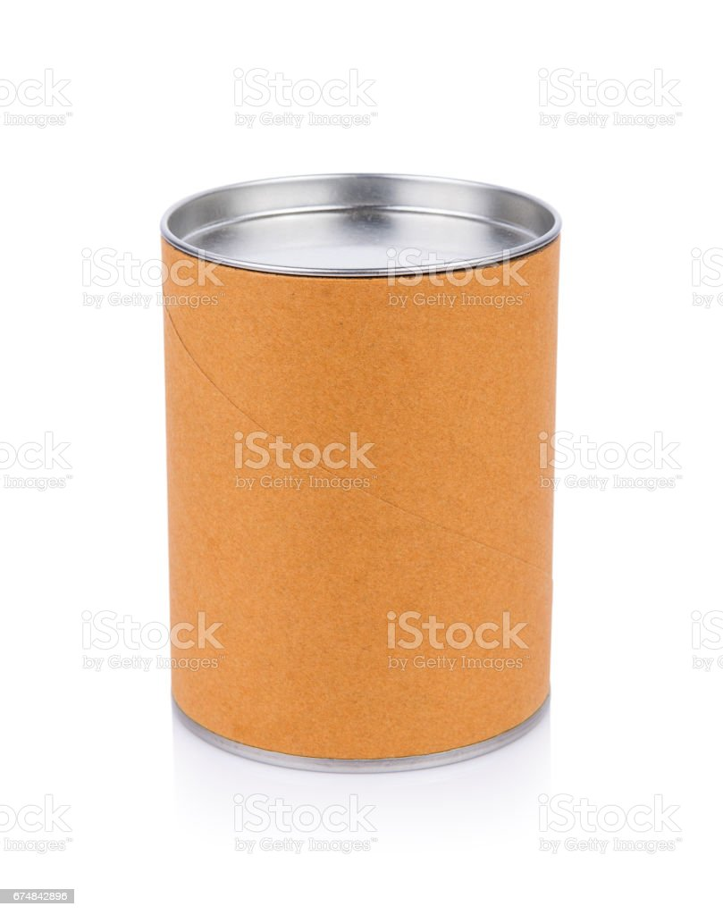 Blank Tincan Metal Tin Can on white background. canned vector art illustration