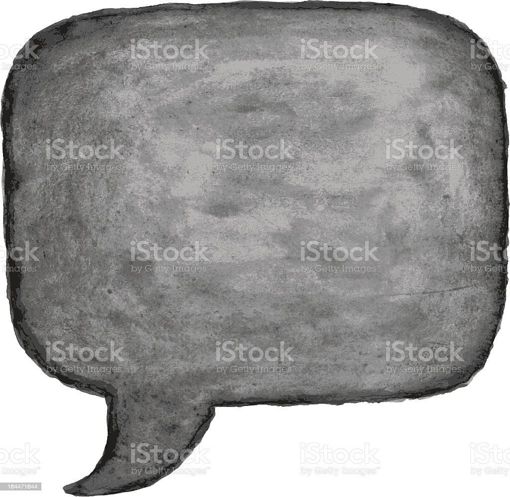 Blank watercolor speech bubble black square shape on white background royalty-free stock vector art