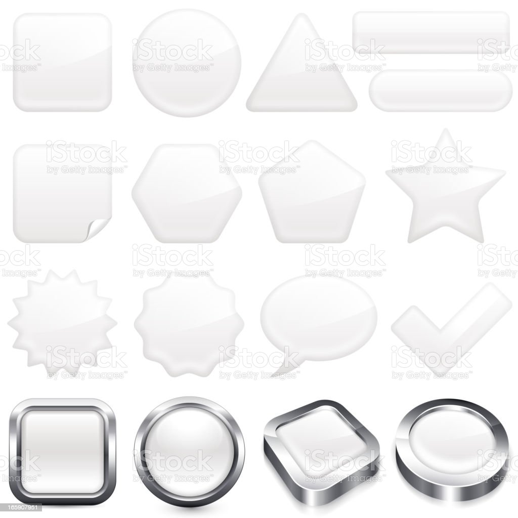 Blank White buttons super set vector art illustration