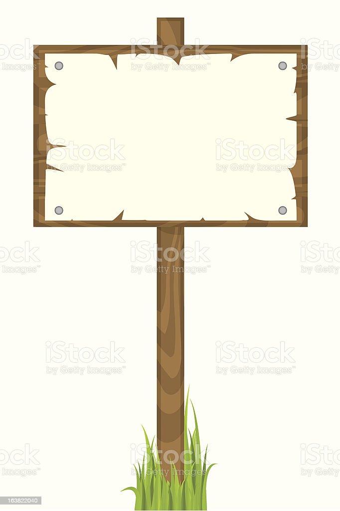 Blank wooden sign vector art illustration